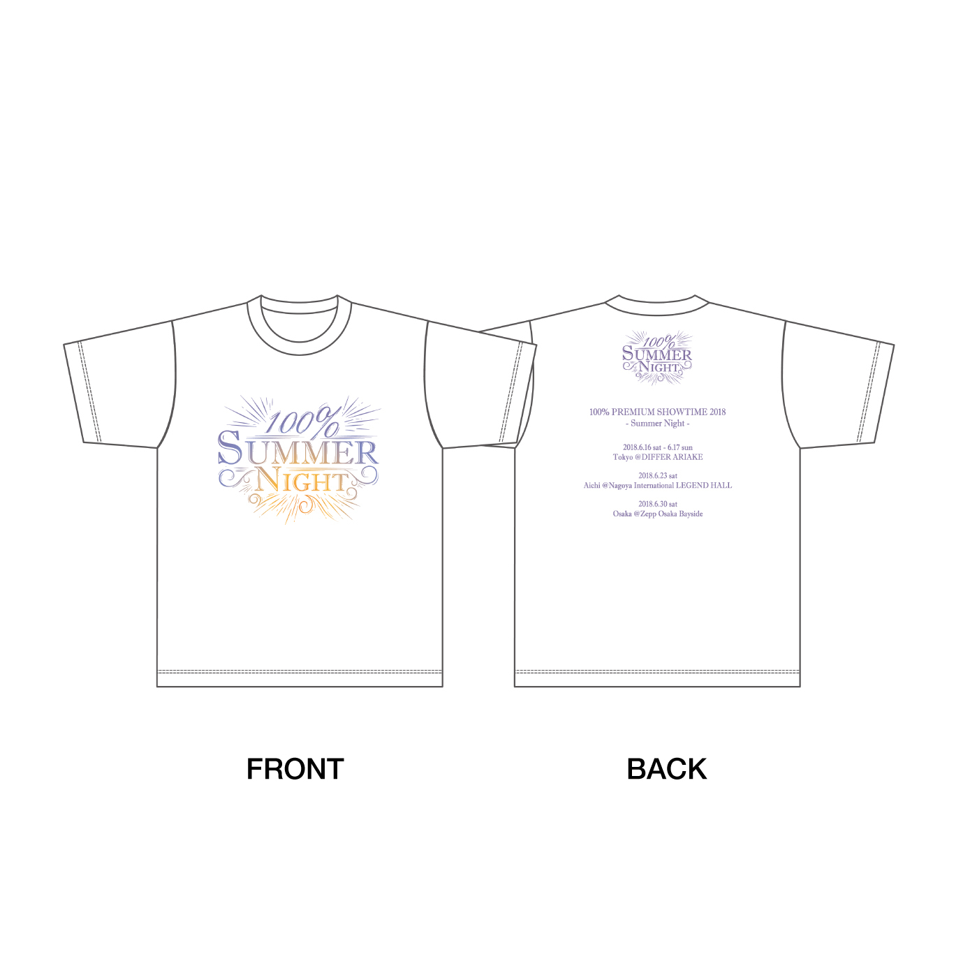 「100% PREMIUM SHOWTIME 2018 ~Summer Night~」Tシャツ(M/L/XL)